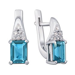 Серебряные серьги Дария с голубым кварцем и фианитами
