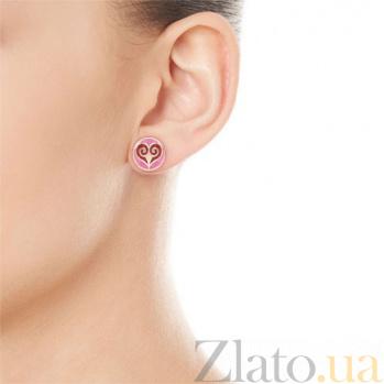 Серьги из розового золота с эмалью Талисман Любви  4657