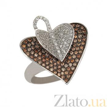 Кольцо из белого золота с коньячным и белым цирконием Осенний лист VLT--ТТ1032