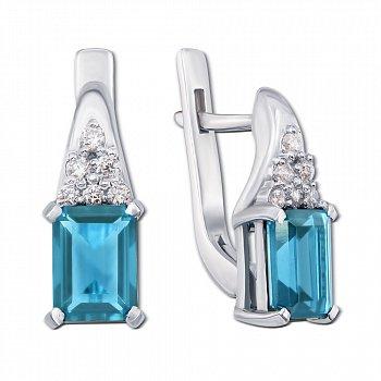 Серебряные серьги с голубым кварцем и фианитами 000012659