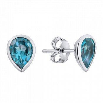 Серебряные серьги-пуссеты с голубыми топазами 000125604