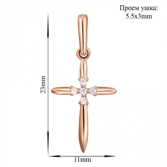 Декоративный крестик из красного золота с фианитами 000004224 SVA--310084010101