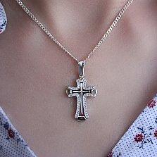 Крестик из белого золота с бриллиантами Вера