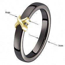 Кольцо в желтом золоте Исида с черной керамикой