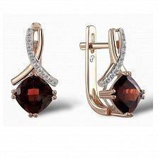 Серьги из красного золота Адрианна с бриллиантами и гранатами