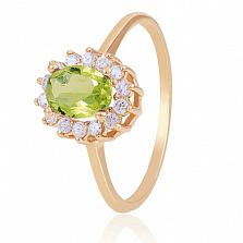 Золотое кольцо Ванесса с хризолитом и фианитами