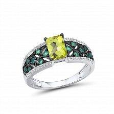 Золотое кольцо Яниса в белом цвете с узорной шинкой, бриллиантами, хризолитом и агатами