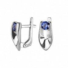 Серебряные серьги Олеандра с синими фианитами