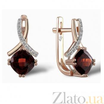 Серьги из красного золота Адрианна с бриллиантами и гранатами 000060776