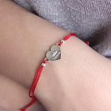 Шелковый браслет Valeria с серебряной вставкой-сердцем
