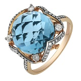 Золотое кольцо Бриана с топазом и бриллиантами