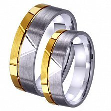 Женское обручальное кольцо Романтический этюд из комбинированного золота с алмазной гранью