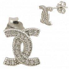 Серебряные серьги-пуссеты Сияние с фианитами в стиле Шанель