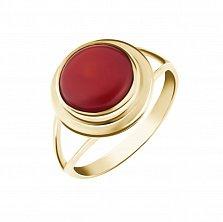 Золотое кольцо Калина с завальцованным красным кораллом