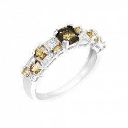 Серебряное кольцо Шахматка с раухтопазом, коньячными и белыми фианитами