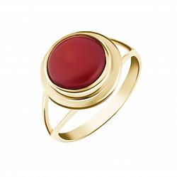 Золотое кольцо Калина с завальцованным красным кораллом 000093970