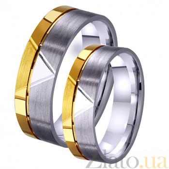 Женское обручальное кольцо Романтический этюд из комбинированного золота с алмазной гранью TRF--4421467