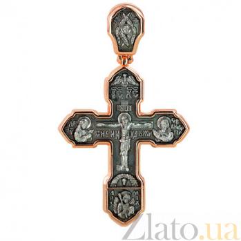 Золотой крестик с черным и белым родием Крещение VLT--КС3013-1