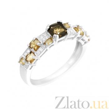 Серебряное кольцо Шахматка с раухтопазом, коньячными и белыми фианитами 000081559
