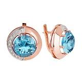 Золотые серьги с голубым кварцем и фианитами Юмалия