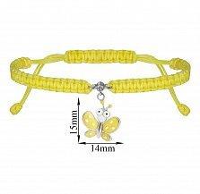 Детский плетеный браслет Мотылек в желтом цвете с эмалью и фианитом, 10х20см
