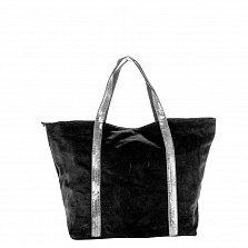 Замшевая сумка на каждый день Genuine Leather 8003 черного цвета на молнии с пайетками