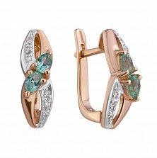 Золотые серьги с бриллиантами и изумрудами Жюли