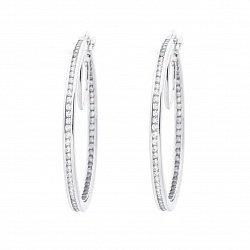 Золотые серьги-кольца Рандеву в белом цвете с завальцованными фианитами