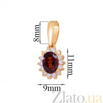 Золотой кулон Синтия с гранатом и фианитами EDM--П4028гранат