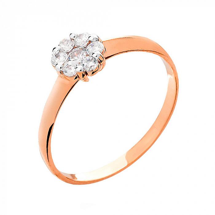 Кольцо из красного золота с цирконием Дэйзи SUF--140622
