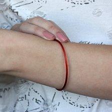 Плетеный шелковый браслет Матиас с родированной серебряной застежкой