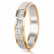 Золотое обручальное кольцо с фианитами Невеста