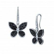 Серебряные серьги-подвески Летний вечер с черными и белыми фианитами