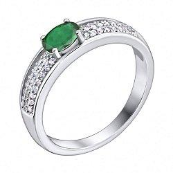Серебряное кольцо с изумрудом и фианитами 000133648