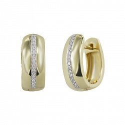 Серьги-колечки из желтого золота Илана с бриллиантами