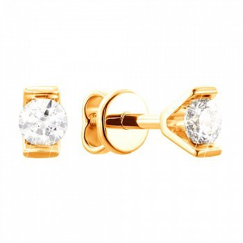 Серьги-пуссеты в желтом золоте с цирконием Swarovski 000099270