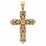 Двусторонний золотой крест-мощевик Сосуд веры с сапфирами и бриллиантами