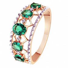 Золотое кольцо с изумрудами и бриллиантами Мирабелла