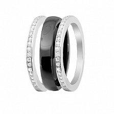 Серебряное кольцо-трансформер Modern Fashion с черной керамикой и цирконием