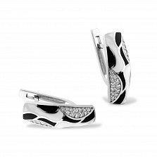 Серебряные серьги Джудит с фианитами, белой и черной эмалью
