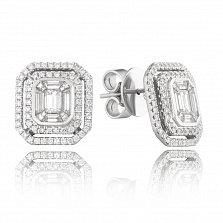 Золотые серьги-пуссеты Кашарель в белом цвете с бриллиантами