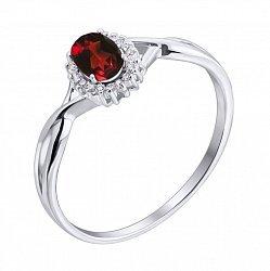 Серебряное кольцо с гранатом и фианитами 000117870