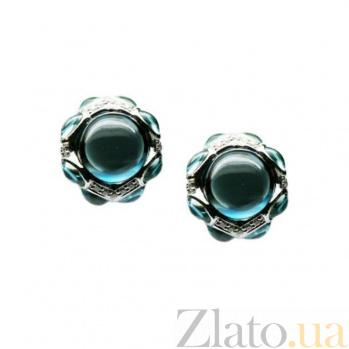 Золотые серьги с голубыми топазами, сапфирами и бриллиантами Эльф 000026685