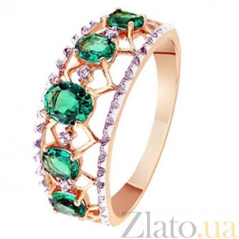 Золотое кольцо с изумрудами и бриллиантами Мирабелла KBL--К1991/крас/изум