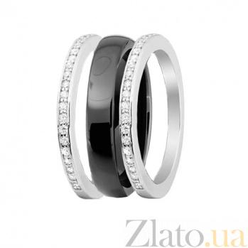 Серебряное кольцо-трансформер Modern Fashion с черной керамикой и цирконием 000030986