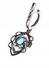 Серебряные серьги-подвески Мирабелла с голубым кварцем и фианитами