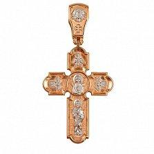 Золотой крестик с белым родием Животворящий