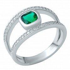 Серебряное кольцо Белла с синтезированным изумрудом и фианитами