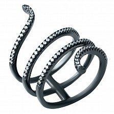 Серебряное кольцо на всю фалангу Пружинка с фианитами и черным родием