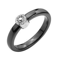 Кольцо из черной керамики и серебра с фианитами 000131768